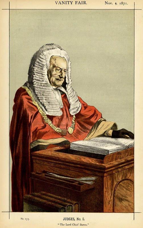alte Karrikatur Richter mit langer weißer Perücke
