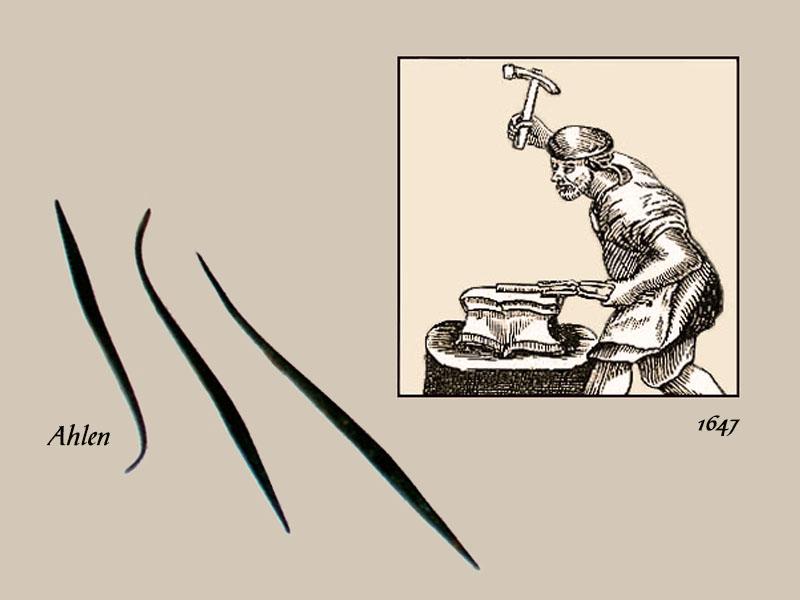 Zeichnung: Ahlenschmied am Amboss