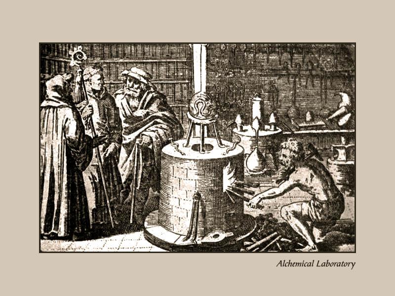 alter Kupferstich: Alchemistisches Laboratorium