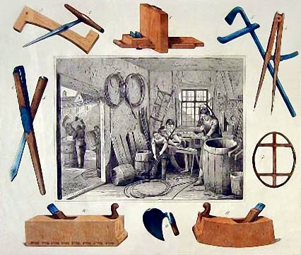 mittig eine Fassbinderwerkstatt, drumherum Werkzeuge der Küfer
