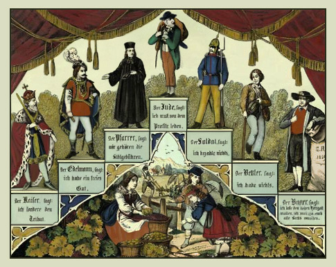 Farblitho: pyramidenartige Treppe mit Kaiser, Edelmann, Pfarrer, Jude, Soldat, Bettler und Bauer