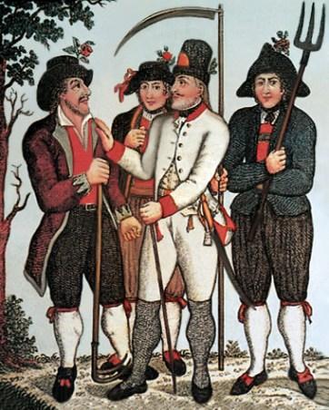 kolorierter Stich: Beamer in weißer Livré im Gespräch mit drei ihn umringenden Bauern (einer mit Hacke, einer mit Sense, einer mit Mistgabel)