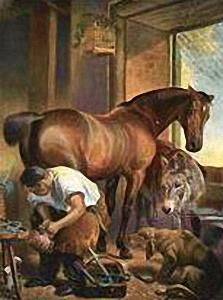 Gemälde: Hufschmied beschlägt braunes Pferd, rechts nah daneben Fohlen und davor Hund