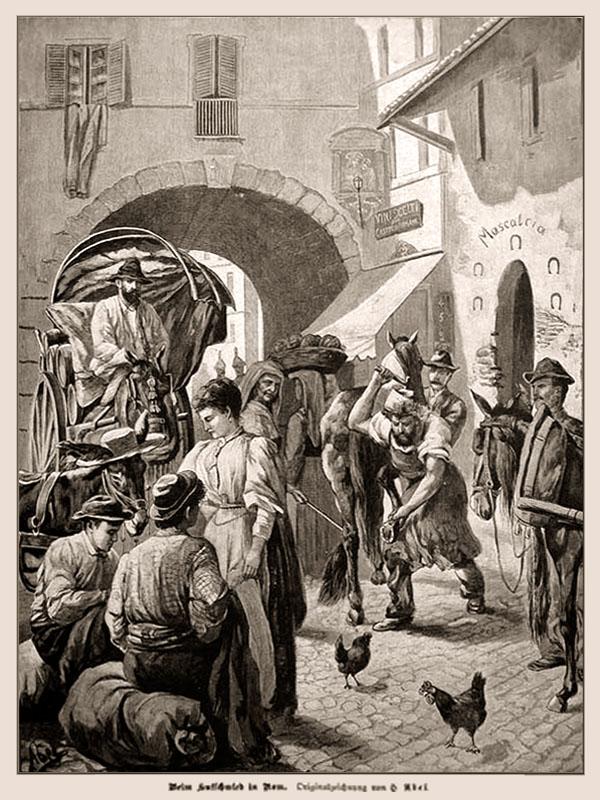 s/w Litho: Straßenszene, rechts vor Hufschmide beschlägt der schmied ein Pferd, links hinten kommt eine Pferdekutsche durch ein Torbogenhaus, davor und daneben Marktleute, vorn unten Hühner auf Kopfsteinpflaster