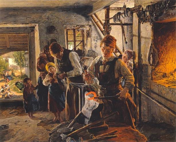 Gemälde: im Vordergund schiedet ein Hufschmied an einem rotglühenden Hufeisen, im Hintergund in der Schmiede zweiter Schmied, drei Kinder sowie Frau mit Baby