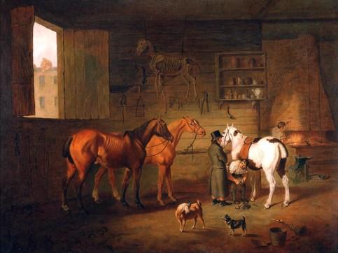 Gemälde: edler Herr mit Zylinder lässt in der Schmiede seinen wohlgenährten Schimmel beschlagen