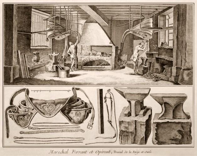 alter Stich: Hufschmiedewerkstatt mit zwei Hufschmieden bei der Arbeit