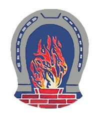 Handwerkszzeichen: loderndes Feuer umrahmt von Hufeisen