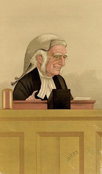farbige Zeichnung: bebrillter Richter mit Zopfperrücke lächelt und macht eine Geste mit der Hand