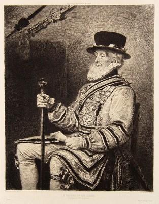 alter Stich: Wächter in schicker Kleidung sitzt mit einem Stab auf einem Stuhl