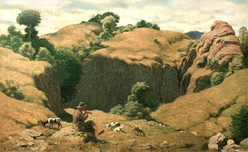 Gemälde: in Berglandschaft auf Stein sitztender Hirte, weiter unten grasen Ziegen