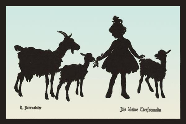 Silhouettenbild: kl. Mädchen reicht Ziegen Blätterzweiglein