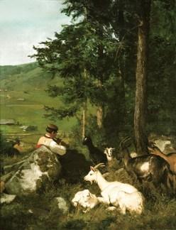 Gemälde: Hirte spielt Flöte für seine an Waldrand ruhenden Ziegen - 1896