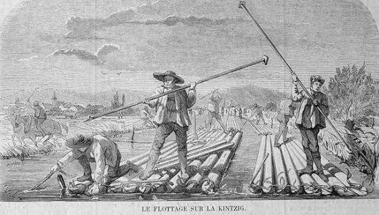 Stich: mehrere Flößer lenken die Flöße geschickt auf dem Fluss