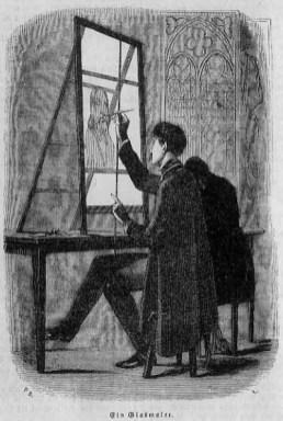 Stic: Glasmaler bemalt eine Glasscheibe mit einem Motiv