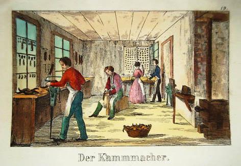 Kammmacher arbeiten an den Kämmen
