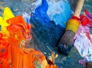 Kunstmaler, Pinsel, bunte Farbe