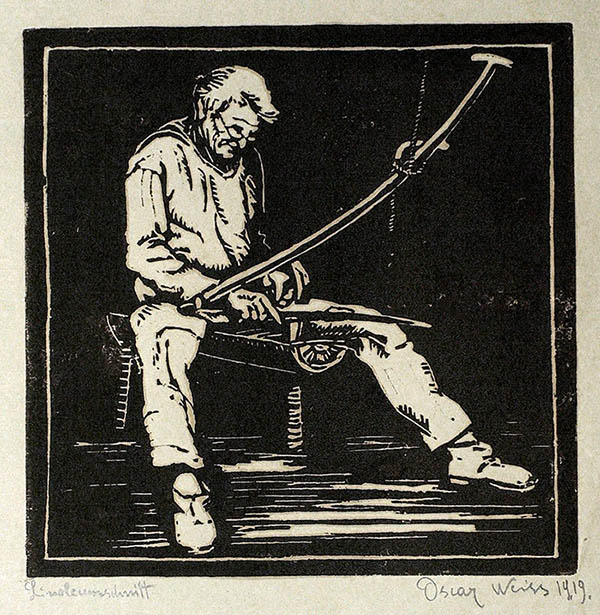 Linolschnitt: Dengler bei der Arbeit