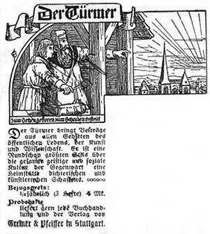 """sw-Abbildung mit werbendem Text für die Zeitschrift """"Der Türmer"""""""