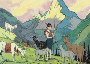 Farblitho: Ziegenhirte mit Ziegen in den Bergen - 1931