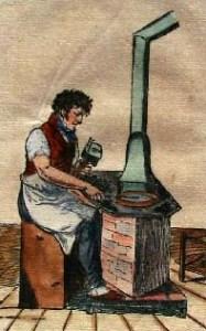 Handwerker am Schmelzofen