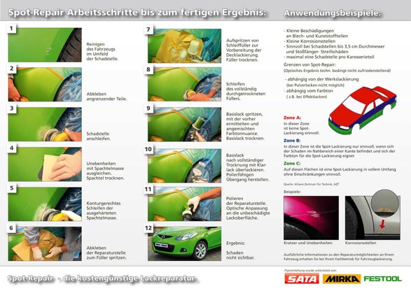 Flyer 'Lackreparatur' - zeigt die einzelnen Arbeitsschritte zur Behebung eines kleineren Lackschadens
