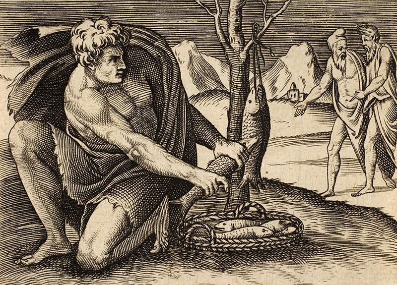 alter Stich: Mann packt Fische in einen Korb, zwei andere Männer gehen im Hintergrund diskutierend vorbei