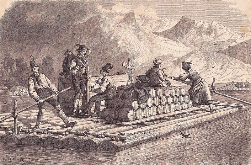 Stich: Flößer und andere Personen auf dem Floß; außerdem sind Fässer geladen