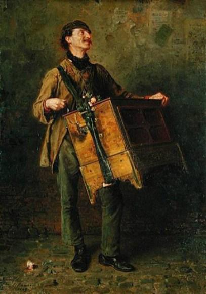 Gemälde: Mann mit tragbarer Drehorgel an Lederriemen um den Hals