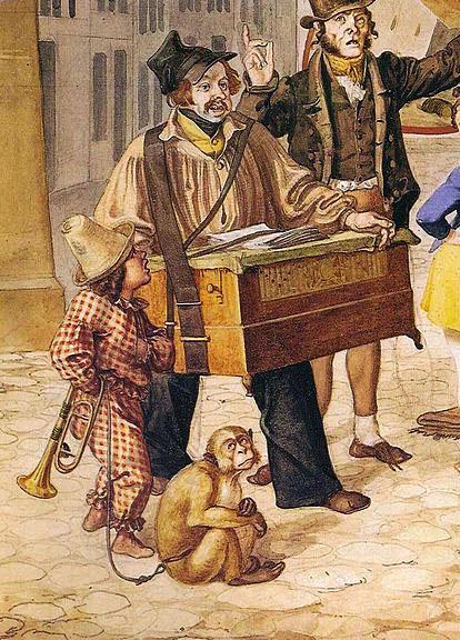 kolorierte Zeichnung: Mann mit tragbarer Drehorgel an Lederriemen um den Hals, links daneben kleiner junge im Clownskostüm und am Boden Äffchen an der Leine