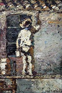 Gemälde: Anstreicher, beim tünchen einer Hausfassade