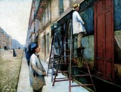 Gemälde: drei Maler steichen die Fassade eines Ladengeschäftes