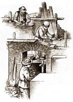 3 Arbeiter beim Rohbau eines Hauses