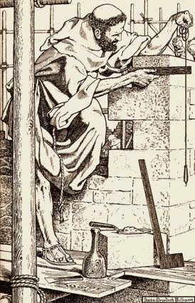 s/w Litho: als Baumeister tätiger Mönch kontrolliert auf Baugerüst stehend mit Senklot und Winkel eine frisch erbaute Mauerecke