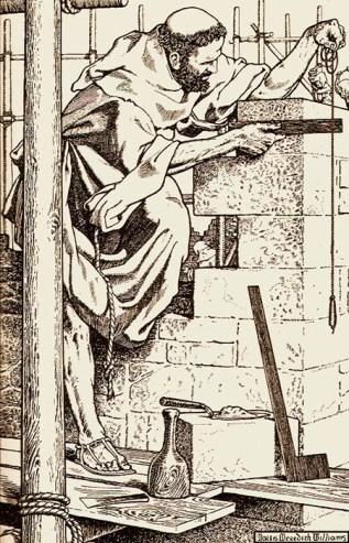 sw Litho: als Baumeister tätiger Mönch kontrolliert auf Baugerüst stehend mit Senklot und Winkel eine frisch erbaute Mauerecke