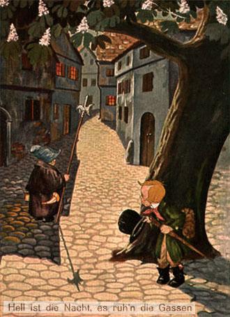 Farbbild: Nachtwächter läuft durch mondhelles Städtchen - rechts versteckt sich Dieb hinter Kastanienbaum