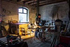 Werkstatt, Spiegelei, Arbeit