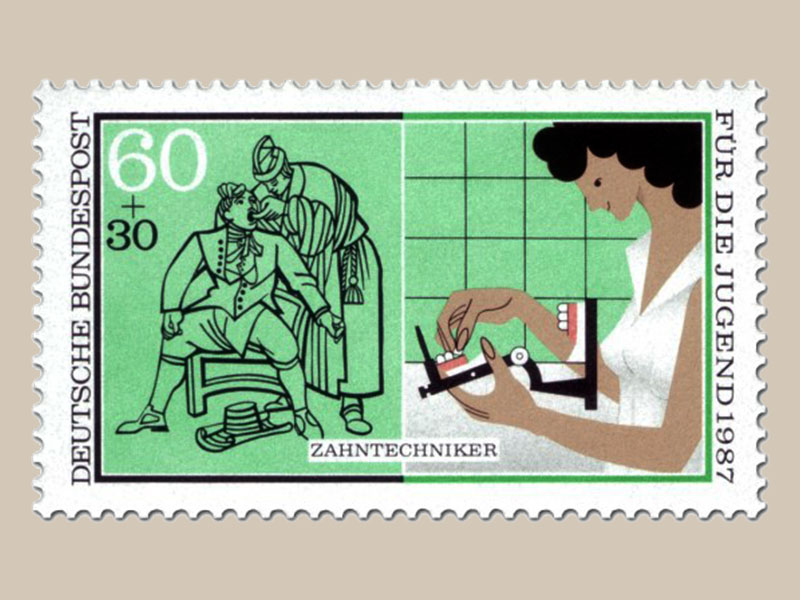 Briefmarke: mittelalterliche Zahnuntersuchung. Zahntechnikerin beim Bearbeiten eines künstlichen Gebisses