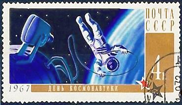 Briefmarke: Kosmonaut schwebt im Weltall