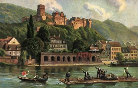 Ansicht: Flößer und Boot auf dem Fluß, Stadt im Hintergrund