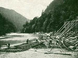 Flößer, Holz, Floß bauen