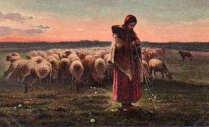 Farbbild: Schäferin mit Schafsherde und Hirtenstab