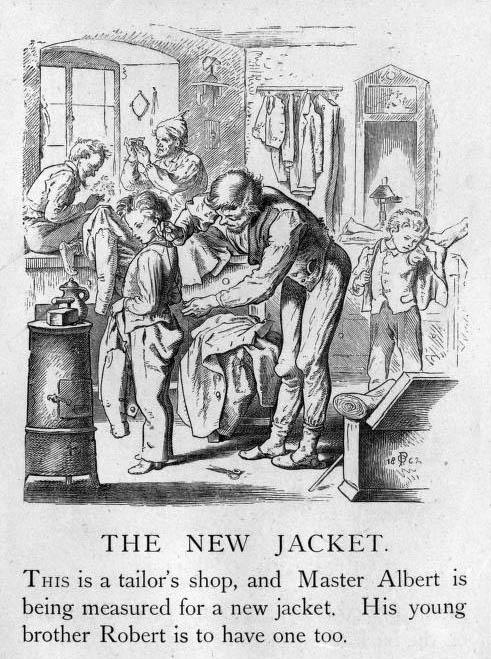 zwei Junge bekommen neue Jacken geschneidert