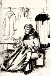 Federzeichnung: Schneider näht an einem Gewand