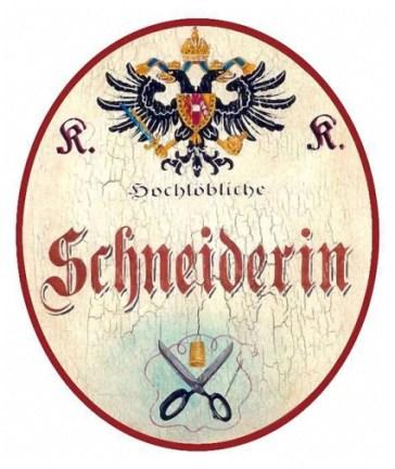 altes Handwerksschild: Schneiderin