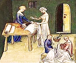 Schneiderinnnen des Mittelalters schneiden Stoff zu