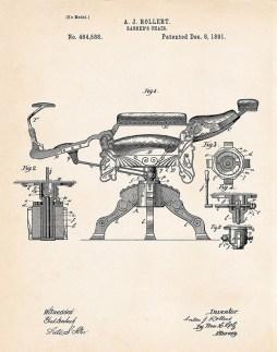 Patentzeichnung eines Barbierstuhles