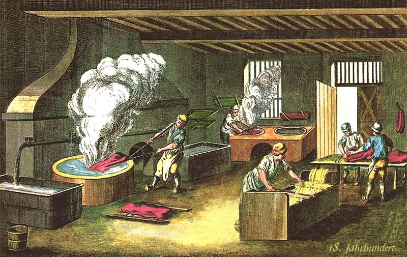 kolorierter Stich: fünf Männer bei der Arbeit in einer Färberei