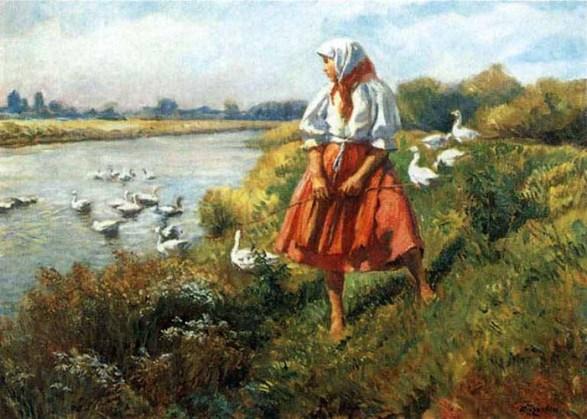Gemälde: hübsche Gänsemagd mit Kopftuch und rotem Rock mit Gänsen am Fluß, wo auch einige herum schwimmen