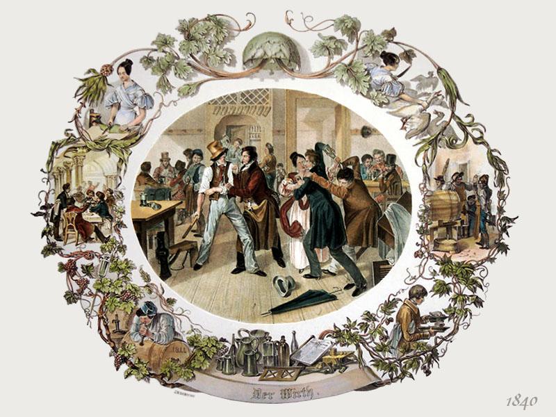 Farblitho: Wirt schlichtet Handgemenge im Gasthaus - 1840, AT